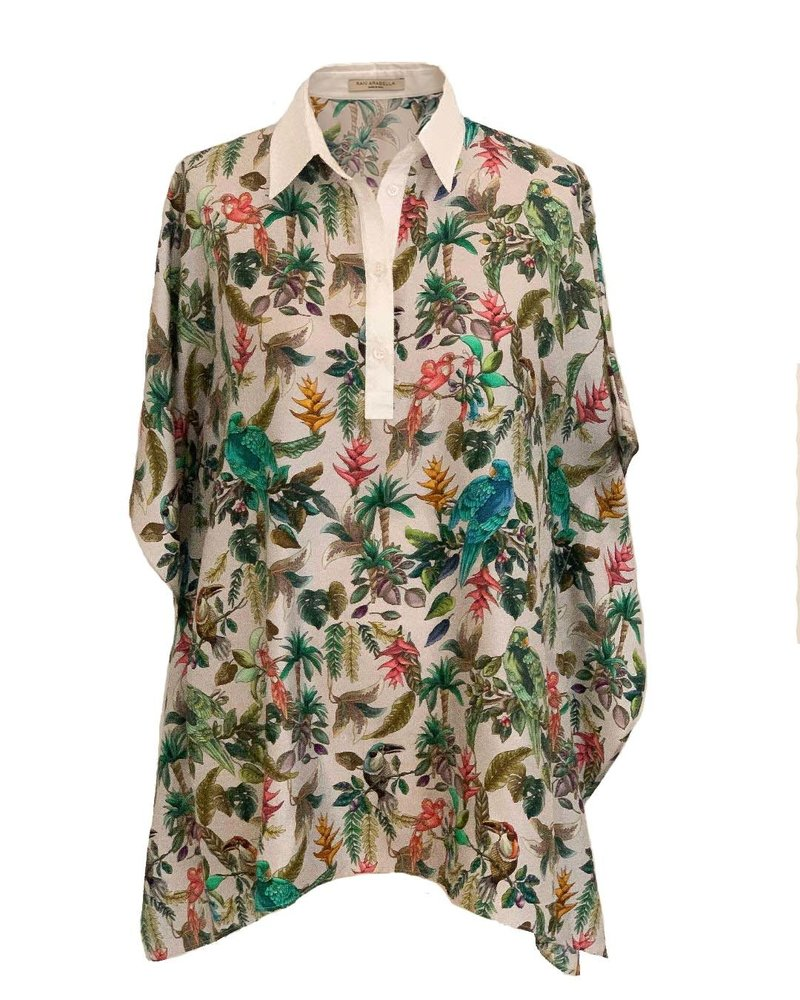 PRINTED SILK TOP W/ COTTON COLLAR: BIRD-GREEN