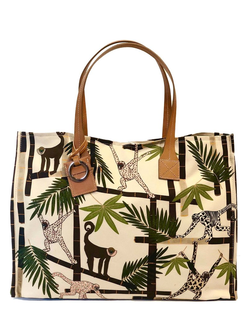 PRINTED CANVAS BEACH SMALL BAG: MONKEY: IVORY