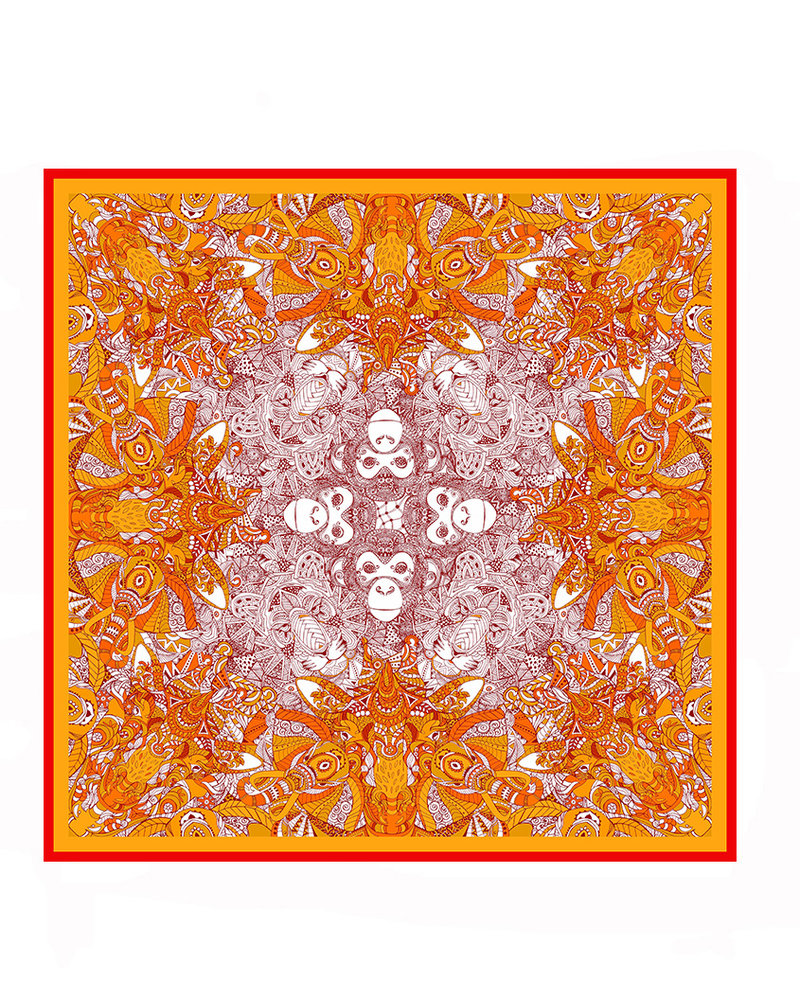 PRINTED CASHMERE SCARF: MONKEY-ELEPHANT-LION: ORANGE