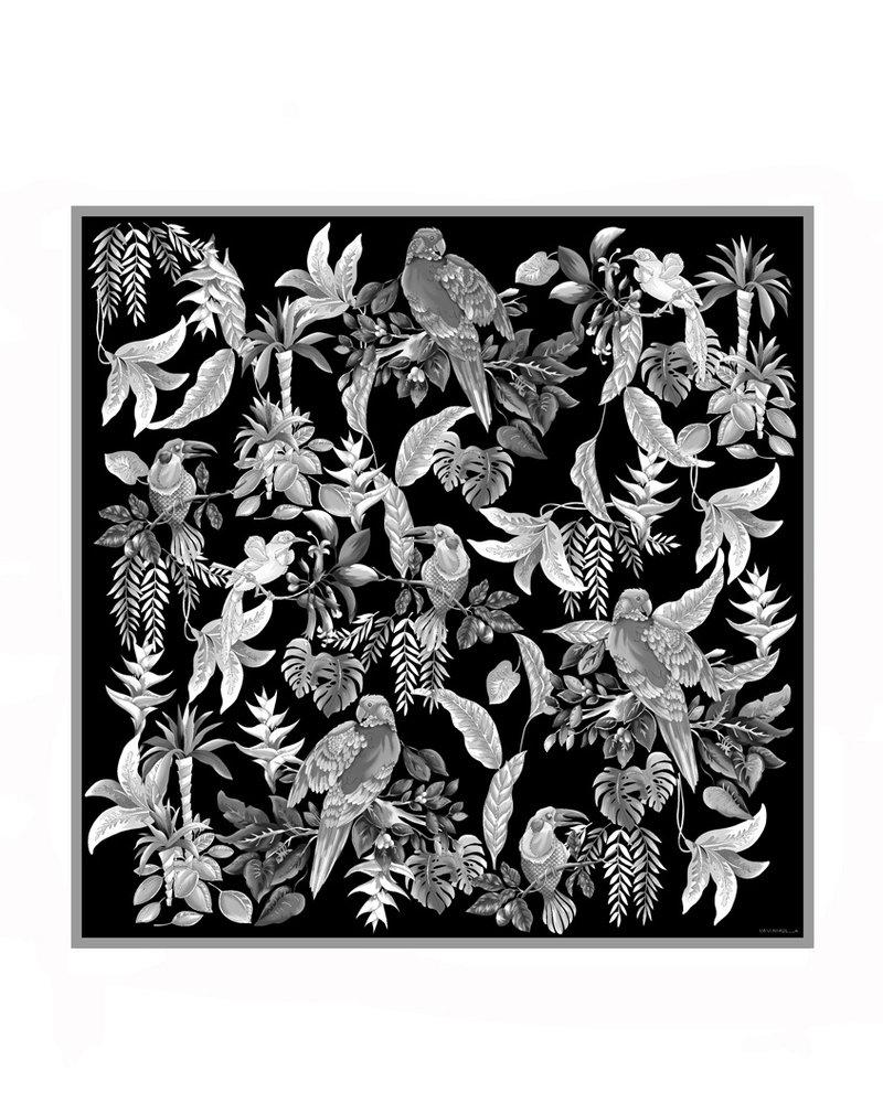 PRINTED CASHMERE SHAWL: BIRDS:BLACK