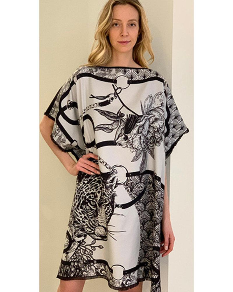 DOUBLE SILK DRESS: LEOPARD: BLACK