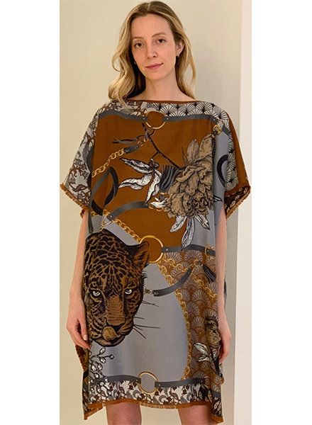 DOUBLE SILK DRESS: LEOPARD