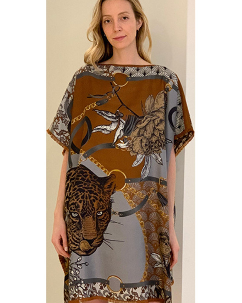 DOUBLE SILK DRESS: LEOPARD: BROWN