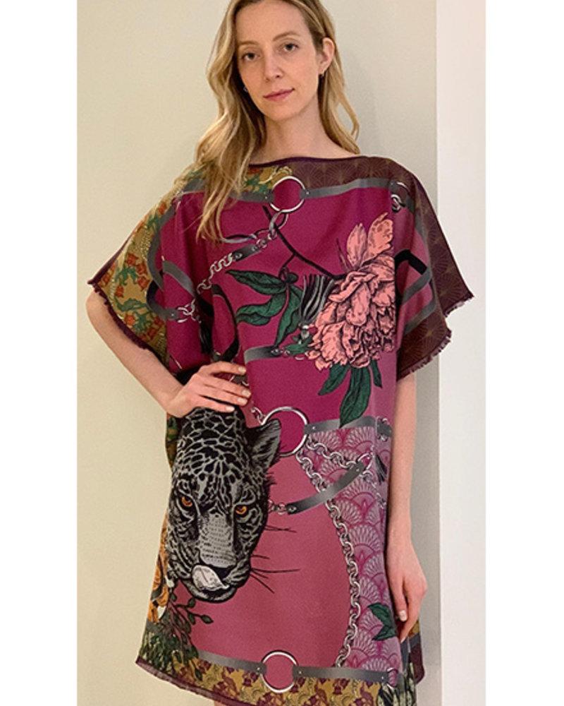 DOUBLE SILK DRESS: LEOPARD: ROSE
