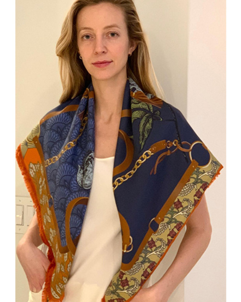 DOUBLE SILK SCARF: LEOPARD: NAVY
