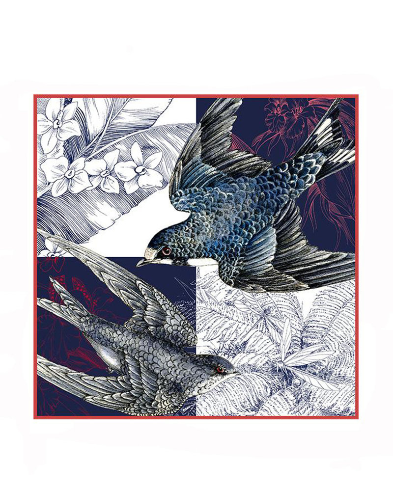 PRINTED SILK SCARF: SPARROW: BLUE