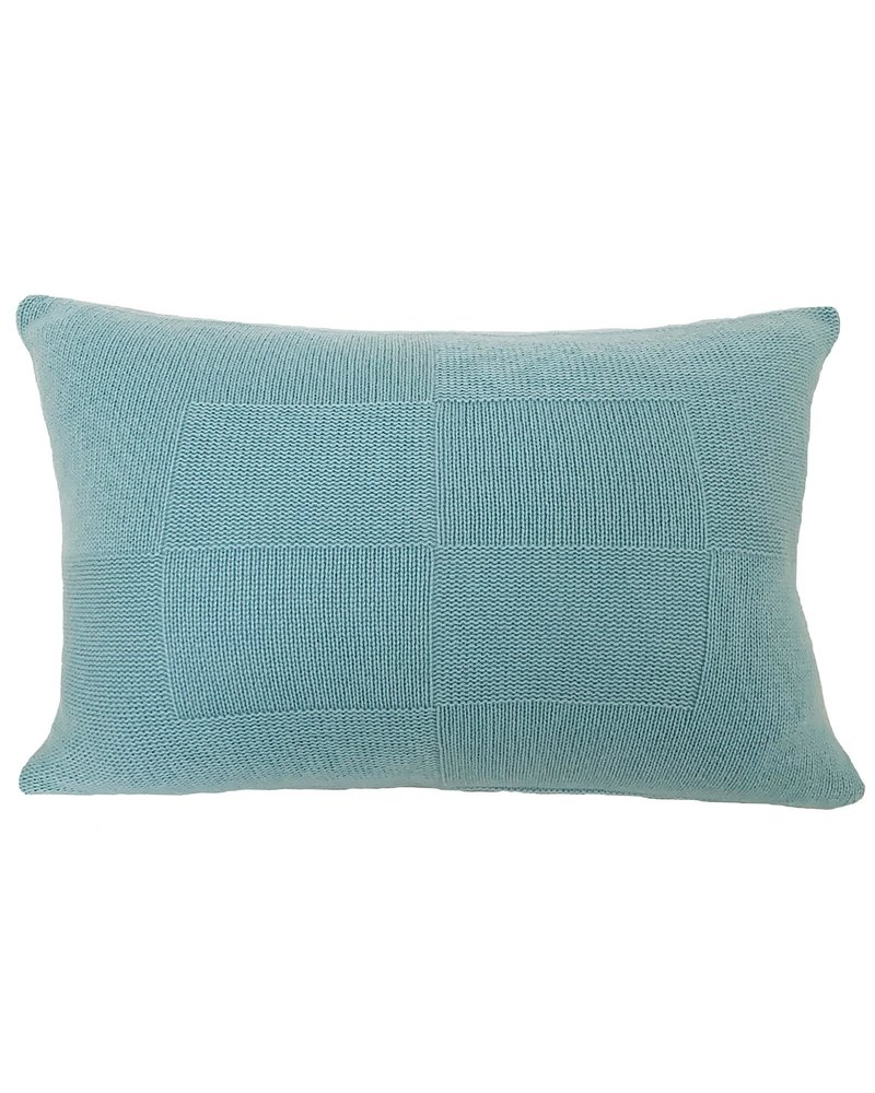 "CASHMERE CHECKERED PILLOW: 16""X24"": AQUA"