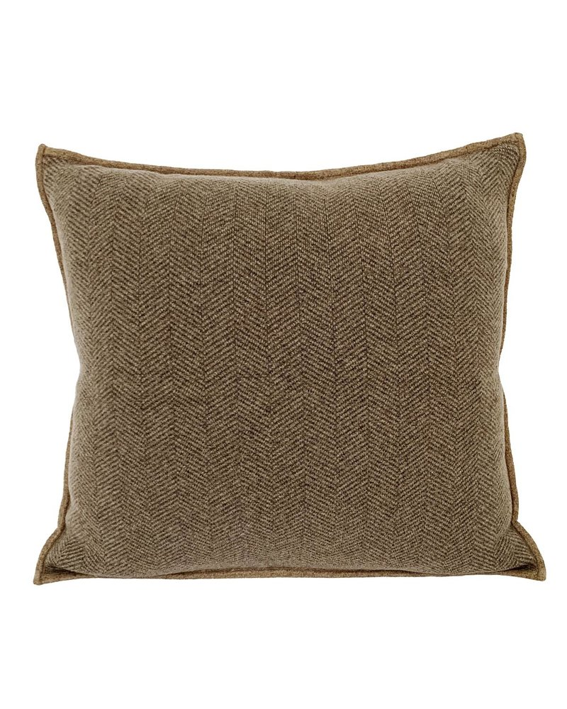 "HENRY CASHMERE HERRINGBONE PILLOW: 21"" X 21"": TAUPE-ANTHRACITE"