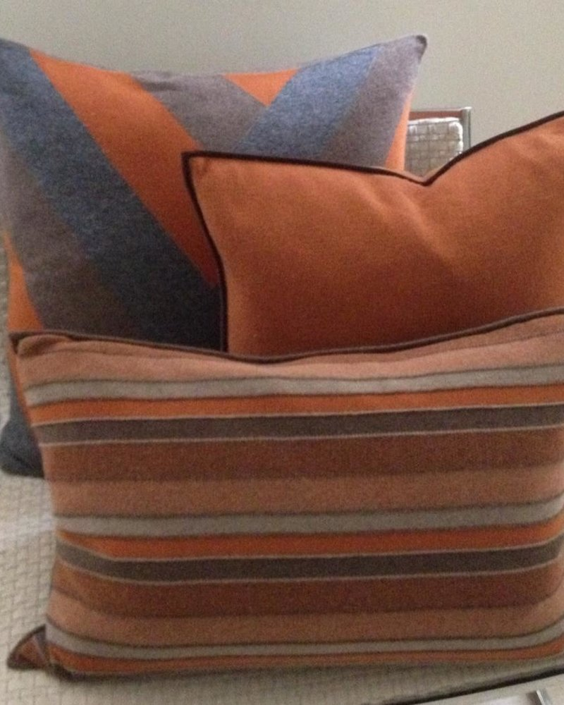 """CASHMERE BLEND STRIPES PILLOW: 16"""" X 24"""": BROWN-BURNT-TAUPE"""