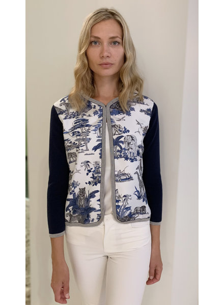 PRINTED SILK-COTTON KNIT OPEN JACKET