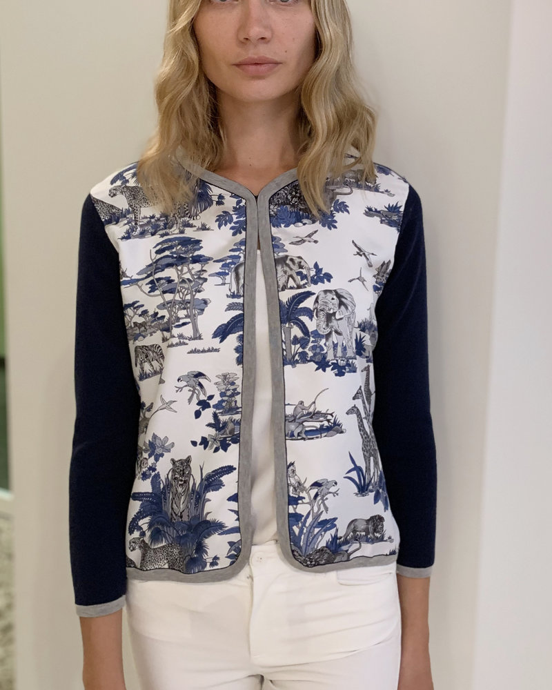 PRINTED SILK-COTTON KNIT OPEN JACKET: SAFARI INK-NAVY