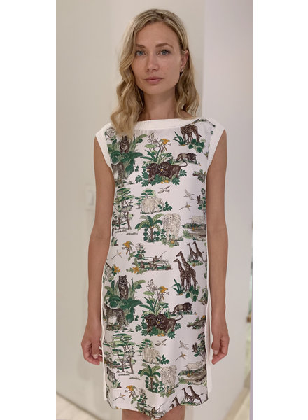 PRINTED SILK-COTTON KNIT SLEEVELESS DRESS