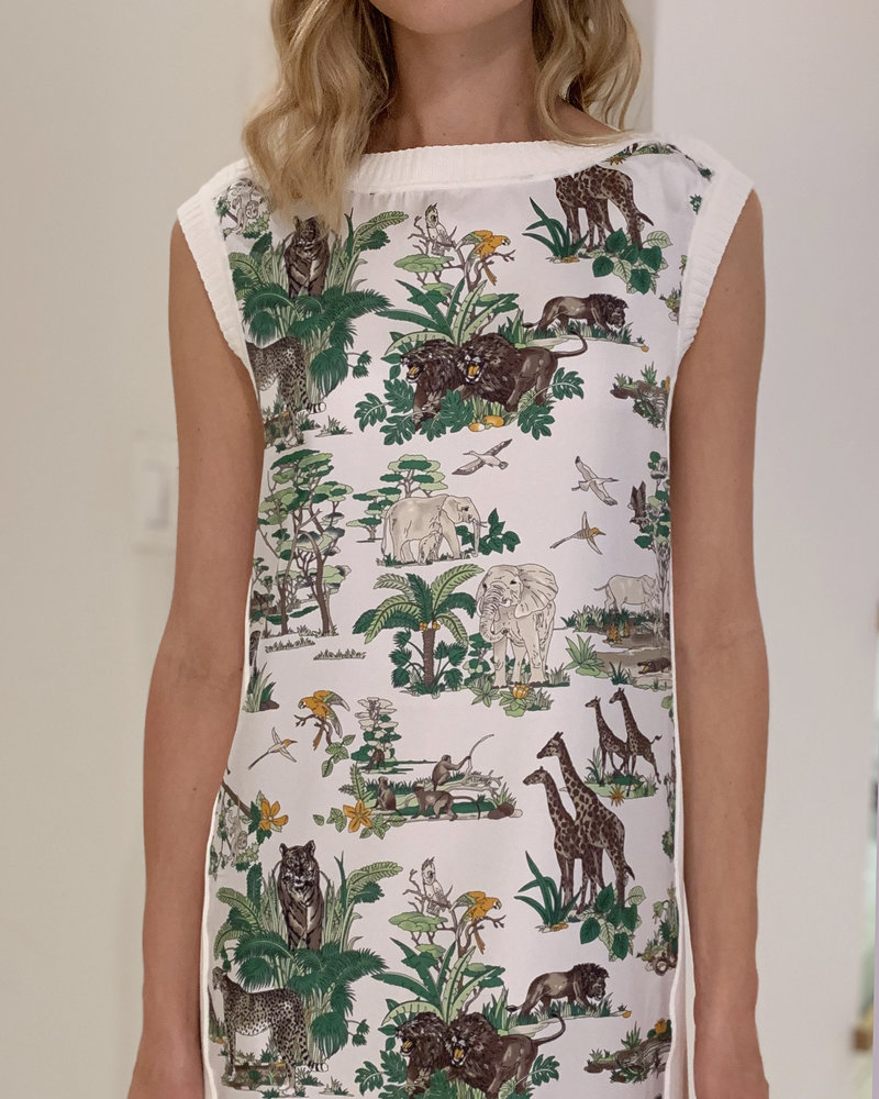 PRINTED SILK-COTTON KNIT SLEEVELESS DRESS: SAFARI-IVORY