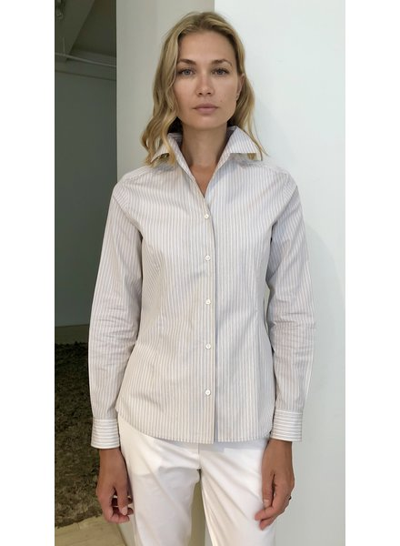 STRIPED ONE PIECE COLLAR COTTON SHIRT