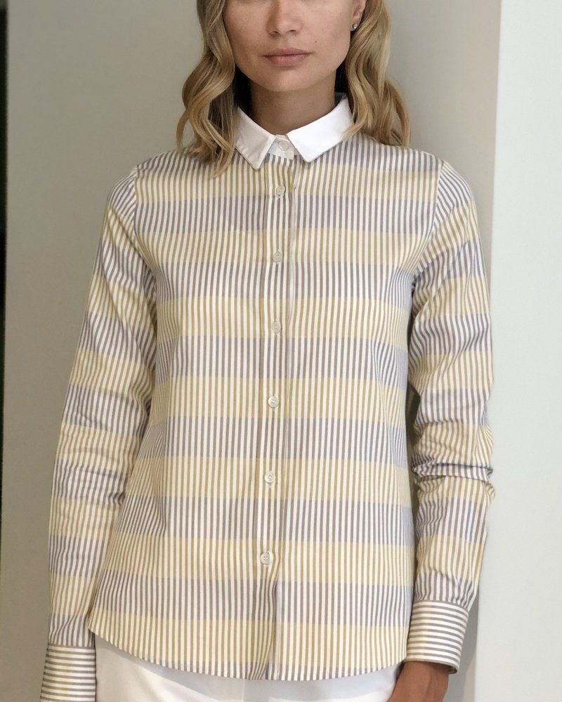 STRIPES COTTON SHIRT: GOLD-YELLOW