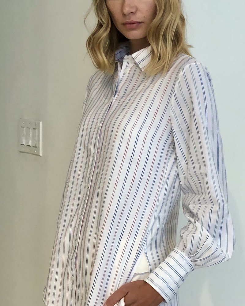 STRIPED LONG COTTON SHIRT: RED-NAVY