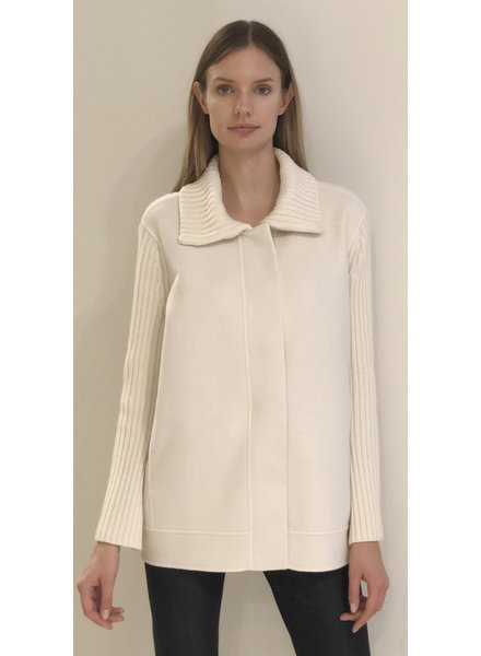 DOUBLE FACE WOOL - CASHMERE KNIT JACKET