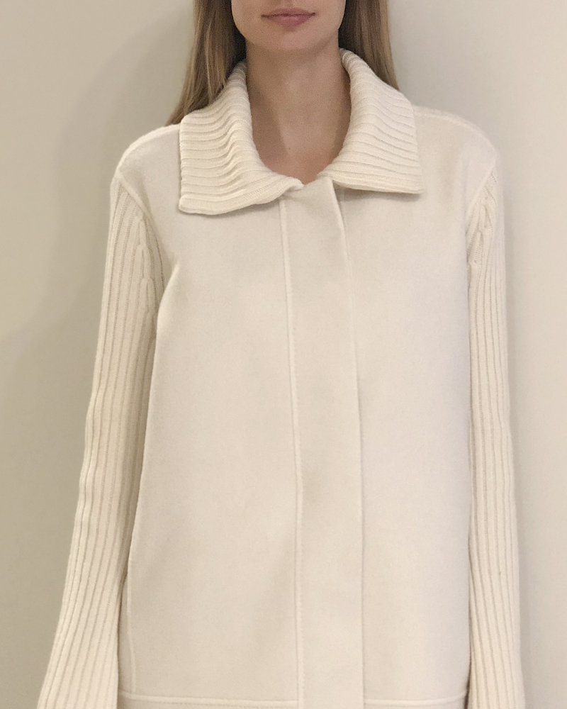 DOUBLE FACE WOOL - CASHMERE KNIT JACKET: Ivory