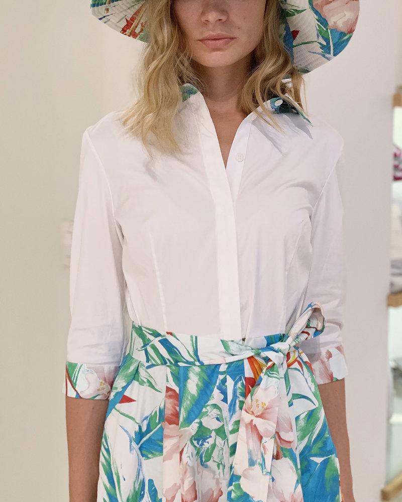 PRINTED COTTON SHIRT DRESS: TROPICAL-PINK