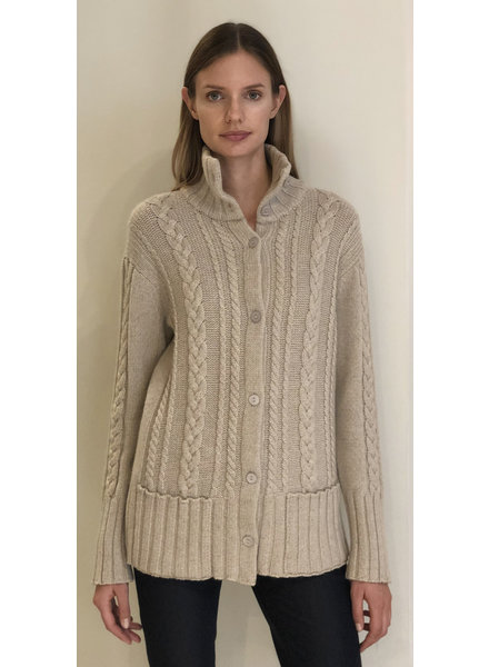 CASHMERE CABLE SWEATER JACKET