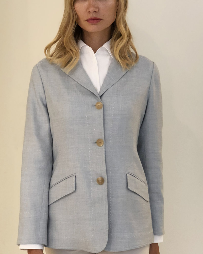 WOOL-SILK-LINEN JACKET: LIGHT BLUE