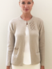 RIBBED KNIT JACKET WITH EMBROIDERY: LINEN