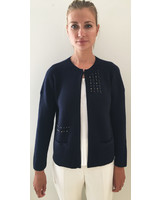 RIBBED KNIT JACKET WITH EMBROIDERY