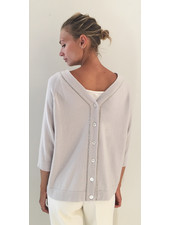 BUTTON BACK CASHMERE SWEATER