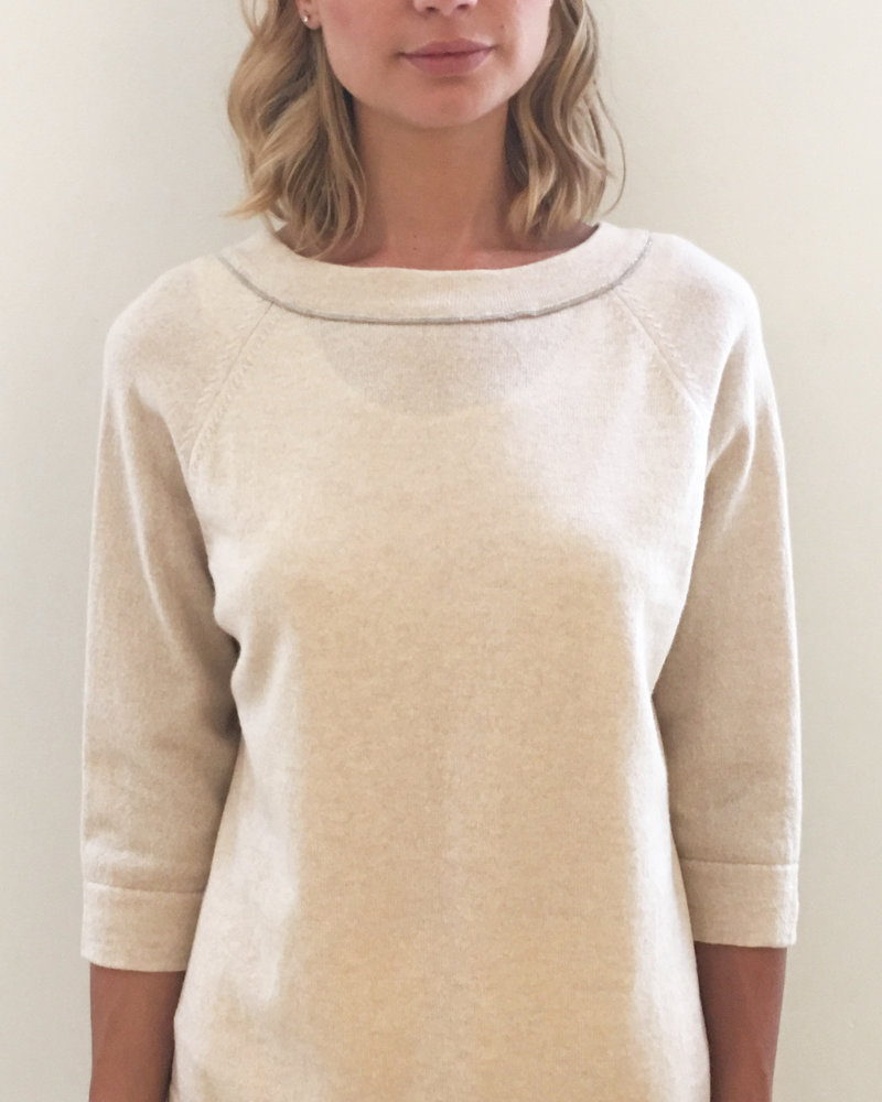 BUTTON BACK CASHMERE SWEATER: SAND