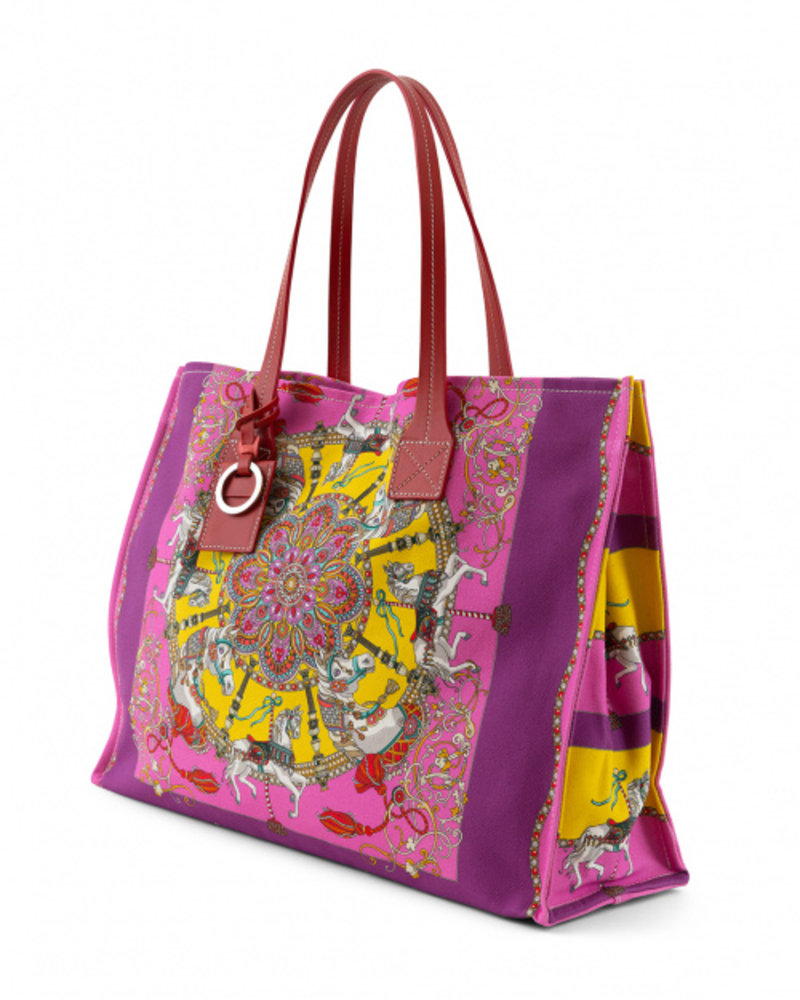 PRINTED CANVAS BEACH SMALL BAG: TOY HORSES: PINK