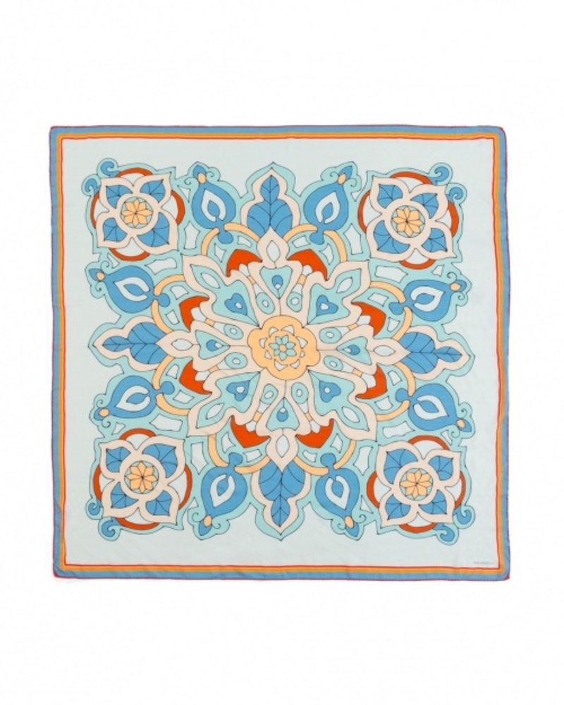 PRINTED CASHMERE SCARF: SAVOIA: BLUE