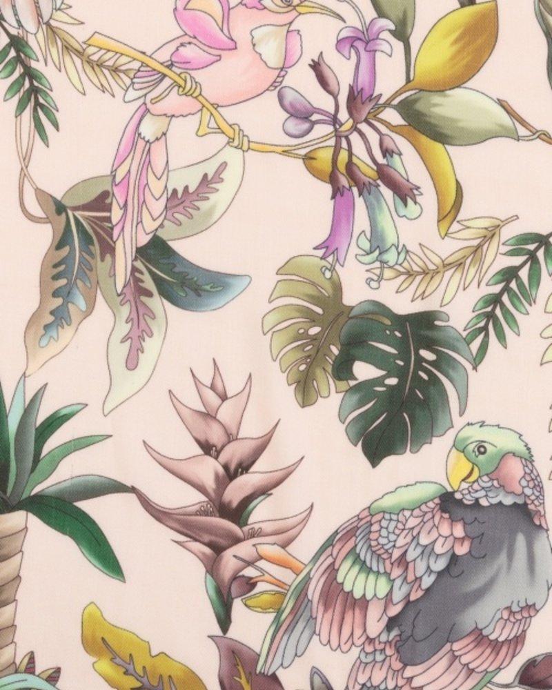 PRINTED CASHMERE SHAWL: BIRDS: PINK-GREEN