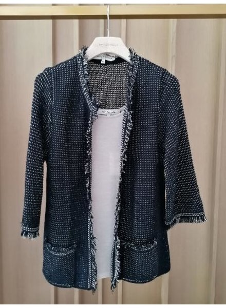 LINEN-COTTON JACKET WITH FRINGES