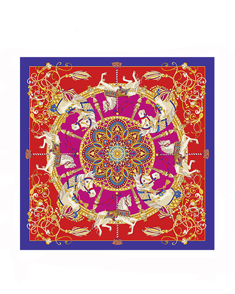 PRINTED CASHMERE SCARF: TOY HORSES: RED