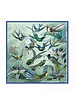 CASHMERE PRINTED SCARF: HUMMING BIRD: GREEN