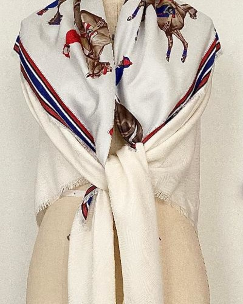 POLO RED SILK PRINTED TRIANGLE - IVORY CASHMERE SCARF