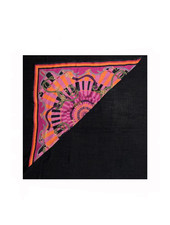 FIRENZE BERRY SILK PRINTED TRIANGLE - BLACK CASHMERE SCARF