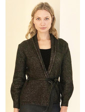 CASHMERE GOLD FOIL JACKET WITH LEATHER BELT