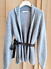 CASHMERE SILVER FOIL JACKET WITH LEATHER BELT: GRAY