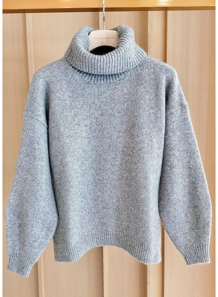 CASHMERE SILVER FOIL ROLL NECK SWEATER