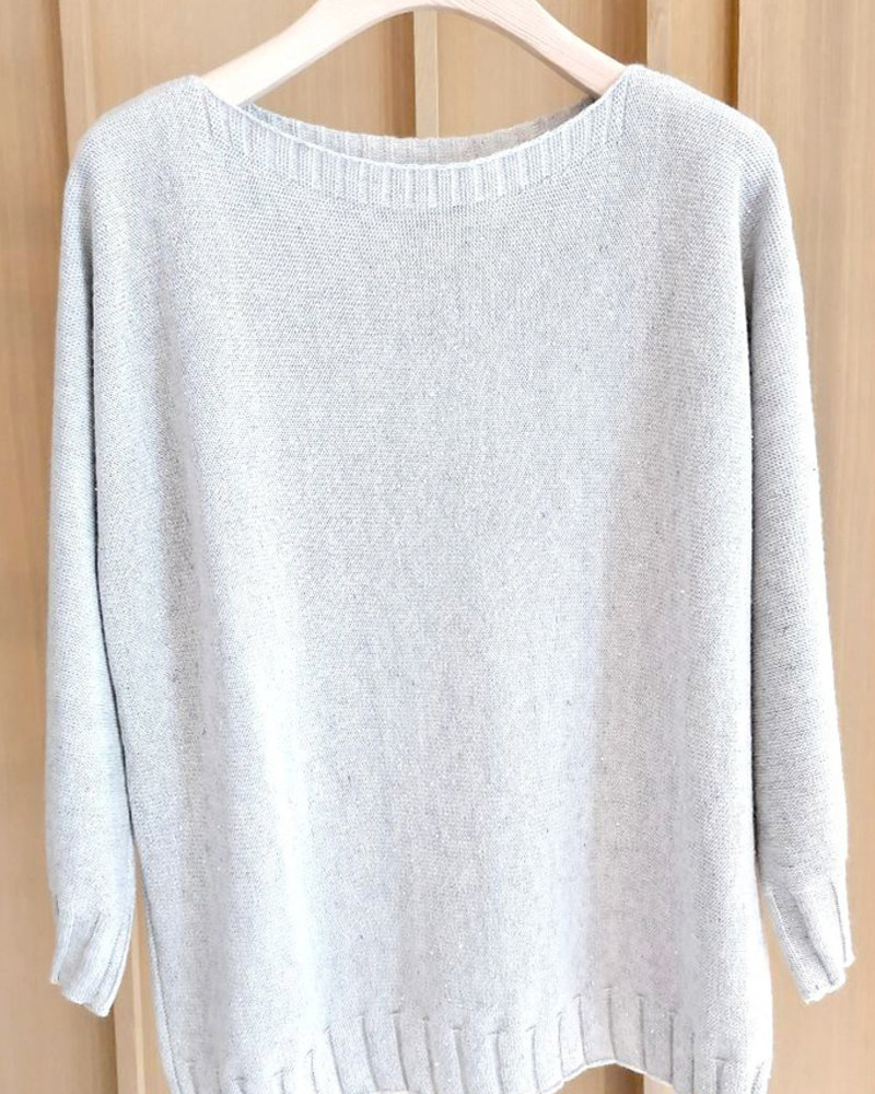 SEQUIN SWEATER: SILVER