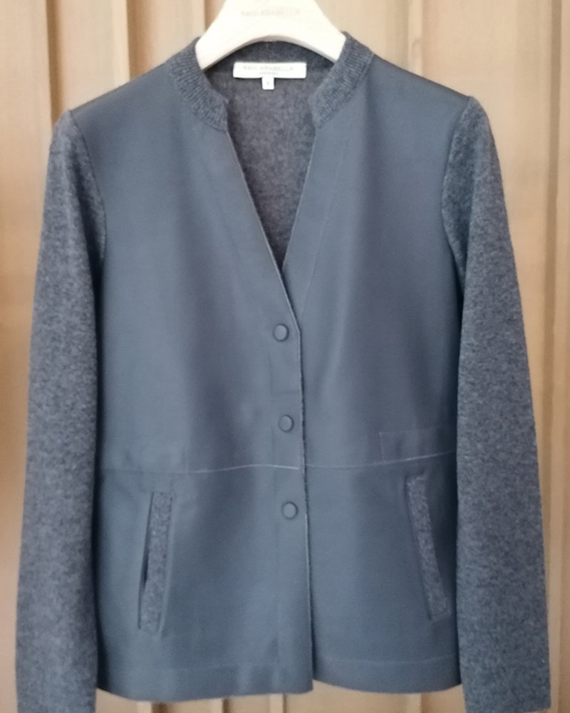 CASHMERE JACKET WITH LEATHER FRONT: ANTHRACITE