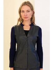 CASHMERE JACKET WITH LEATHER FRONT