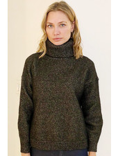 CASHMERE GOLD FOIL ROLL NECK SWEATER