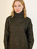 CASHMERE GOLD FOIL ROLL NECK SWEATER: BLACK
