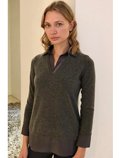 CASHMERE POLO SWEATER WITH SILK COLLAR DETAILS