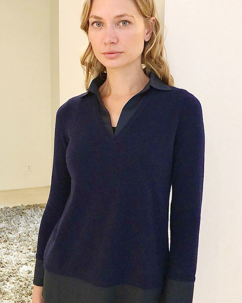 CASHMERE POLO SWEATER WITH SILK COLLAR DETAILS: NAVY