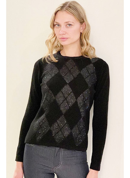 CASHMERE SWEATER WITH EMBELLISHED ARGYLE WEAVE