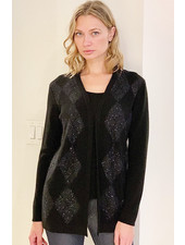 CASHMERE CARDIGAN WITH EMBELLISHED ARGYLE WEAVE