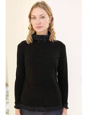 SUPERFINE ROLL NECK WITH EMBELLISHED YARN DETAILS